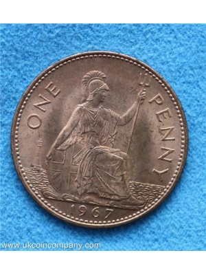 1967 elizabeth II uncirculated one penny coin