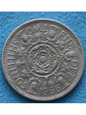 1966 elizabeth ii two shillings coin
