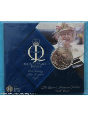 2012 diamond jubilee brilliant uncirculated five pound crown in royal mint pack
