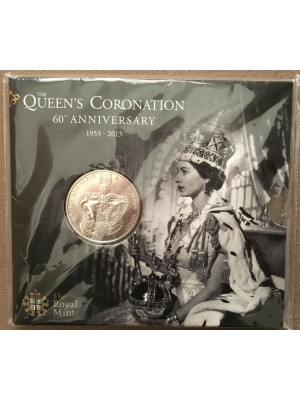 2013 uk 60th anniversary queens coronation brilliant uncirculated royal mint £5 coin pack