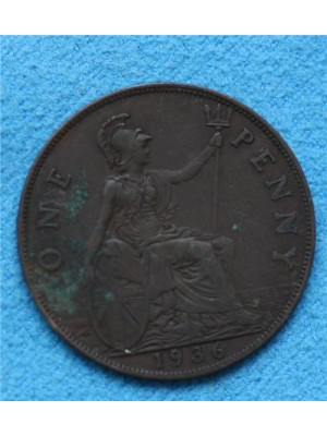1936 george v one penny coin