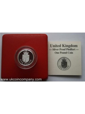 1988 united kingdom royal mint royal shield piedfort £1 one pound proof coin Boxed with cert