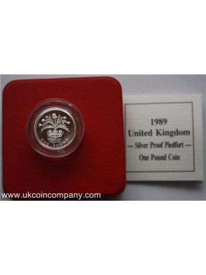 1989 scotish thistle silver proof piedfort  pound coin boxed and certificate