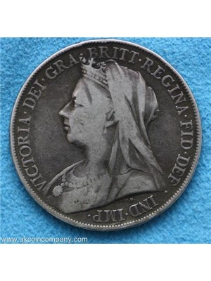 1899 Queen Victoria Veiled Head Silver Crown Coin