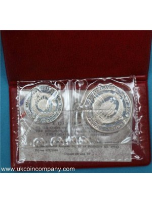 1968 yugoslavia 25th anniversarry of the republic silver proof 2 coin set scarce coins