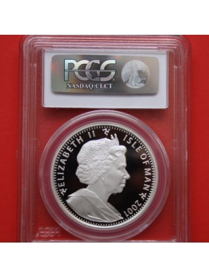 2001 Isle of man harry potter key among all keys silver proof 1 crown coin certified graded and slabbed by pcgs as pr69