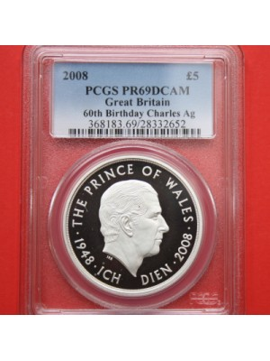 2008 Great Britain Prince Charles 60th Birthday Silver Proof £5 Five Pound Crown Coin Slabbed Graded Certified By Pcgs As Pr69
