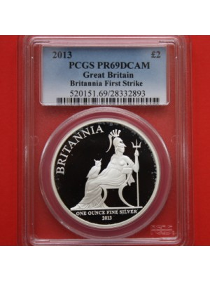 2013 britannia first strike silver proof £2 two pound coin certified slabbed graded by pcgs as pr69