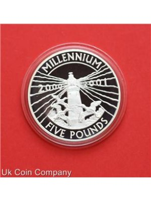 2000 2001 Alderney Lighthouse Silver Proof £5 Five Pounds Crown Coin With Certificate Of Authenticity