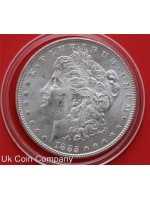 1885 usa silver morgan dollar coin in capsule
