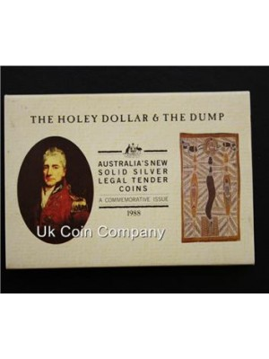 1988 australia the holey dollar & the dump solid silver coins