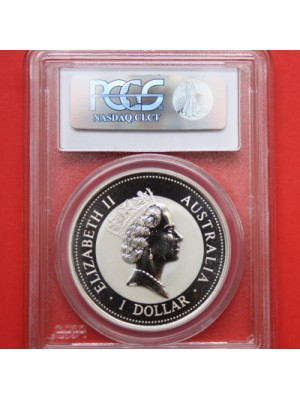 1994 australia kookaburra 1oz .999 silver bu coin certified graded slabbed by pcgs as ms68.