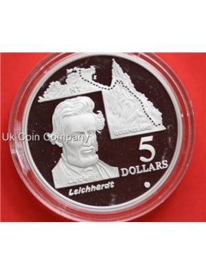 1994 australia explorer ludwig leichhardt 1oz silver proof $5 dollar crown coin