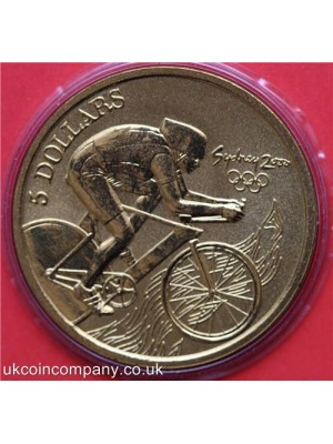 2000 australia olympic games cycling $5 five dollar bu coin in capsule