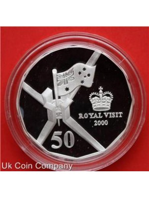 2000 australia royal visit silver proof 50 cent coin boxed with  certificate of authenticity