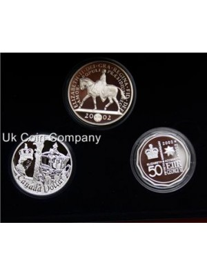 2002 united kingdom canada australia silver proof three coin set boxed
