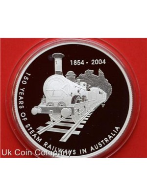 2004 australia steam railways 1oz silver proof five dollar coin
