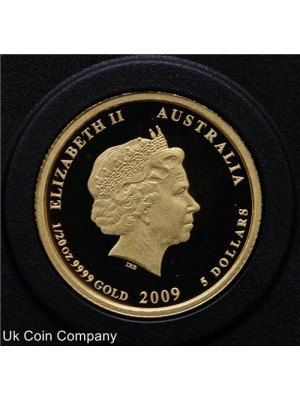 2009 australia kookaburra 20th anniversary fine .999 1/20oz gold proof $5 coin