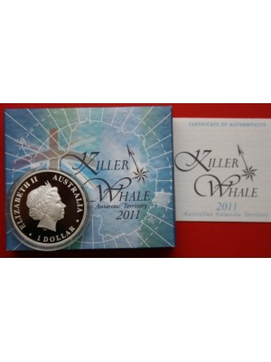 2011 australia killer whale 1oz silver proof dollar coloured coin boxed with cert