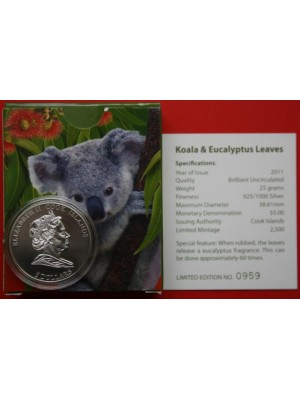2011 cook islands koala and eucalyptus leaves, the scent of australia silver brilliant uncirculated $5 coin boxed with cert