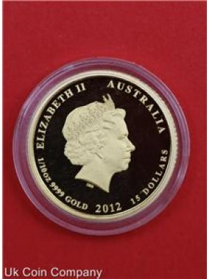 2012 australia lunar dragon p series ii 1/10oz gold proof $15 coin boxed and certified