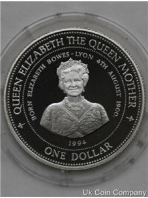 1994 barbados queen mother silver proof $1 one dollar coin in capsule