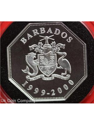 1999 2000 barbados millennium dual dated silver proof $5 five dollars coin & coa