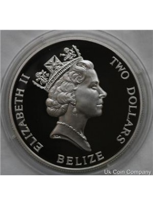 1993 belize coronation anniversary silver proof $2 two dollar crown coin