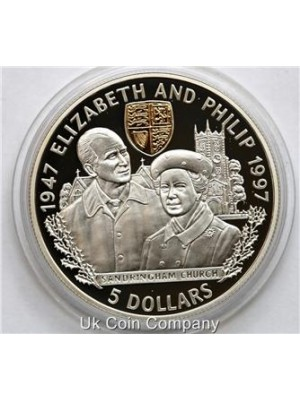 1997 belize elizabeth philip wedding anniversary silver proof $5 five dollar crown coin