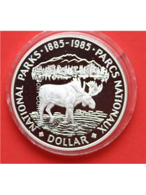 1985 royal canada mint national parks silver proof $1 one dollar coin