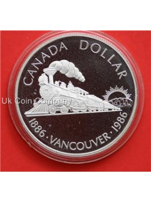 1986 canada mint 100th anniversary of vancouver silver proof dollar coin
