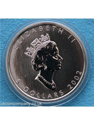 2002 canada silver anniversary loon silver hologram $5 coin in capsule