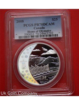 2008 canada vancouver olympics silver proof hologram pcgs certified graded highest grade pr70