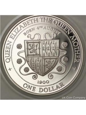 1994 Cayman Islands Queen Mother Silver Proof $1 Coin