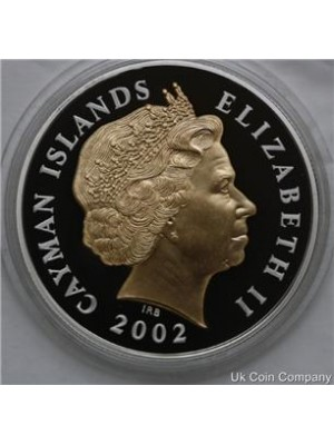 2002 cayman islands queens golden jubilee silver gold proof $2 crown coin