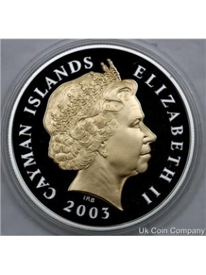 2003 Cayman Islands Queens Golden Jubilee Silver Gold Proof $2 Crown Coin