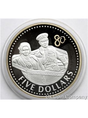 2006 cayman islands queens golden jubilee silver gold proof $5 crown coin