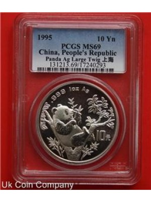 1995 China Large Twig Silver 1oz Panda 10 Yuan Coin - grade Pcgs Ms69