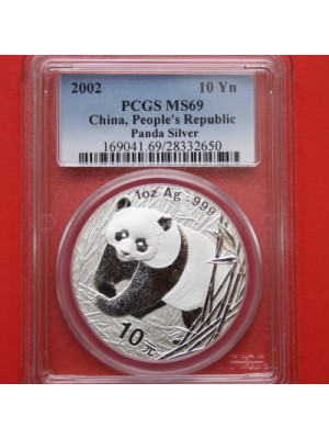 2002 china panda solid 1oz silver 10 yuan coin graded certified slabbed by pcgs as ms69