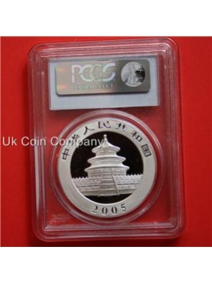 2005 china panda 1oz silver bu 10 yuan coin-grade pcgs ms68