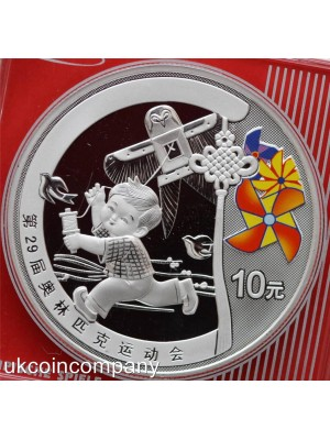 2008 china summer olympics child with kite 1oz silver proof 10 yuan coin in original square capsule