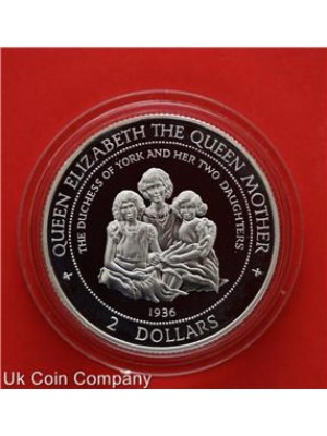 1997 cook islands duchess of york sterling silver proof $2 two dollar coin