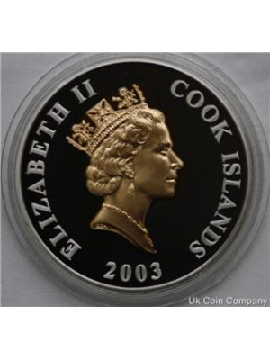 2003 cook islands golden jubilee gold silver one dollar proof crown coin
