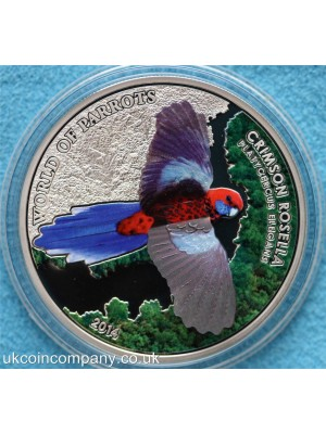 2014 cook islands crimson rosella 3D silver prooflike five dollar coin boxed with certificate,low issue limit of 2,500 pieces