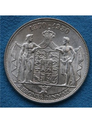 1930 denmark king christian x  silver brilliant uncirculated 2 krone coin