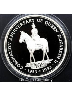 1993 Falkland Islands Sterling Silver Proof 50p Crown Coin