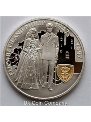 1997 falkland islands queen elizabeth ii wedding anniversary silver proof £5 five pound crown coin