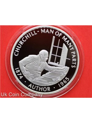 2005 Falkland Islands Churchill Authur Silver Proof Fifty Pence Crown Coin
