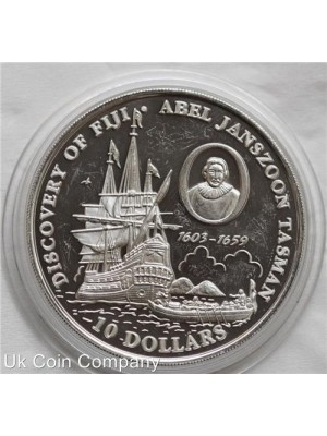 1993 fiji discovery of silver $10 proof coin - low mintage