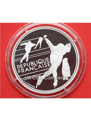 1990 france olympic speed skating silver proof 100 franc coin